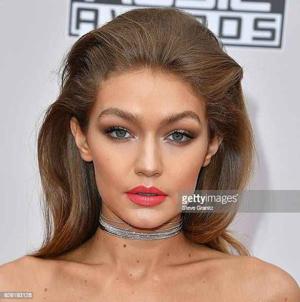 Gigi Hadid arrives at the 2016 American Music Awards at Microsoft Theater on November 20 2016 in Los Angeles California
