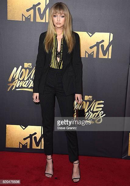 Gigi Hadid arrives at the 2016 MTV Movie Awards at Warner Bros Studios on April 9 2016 in Burbank California
