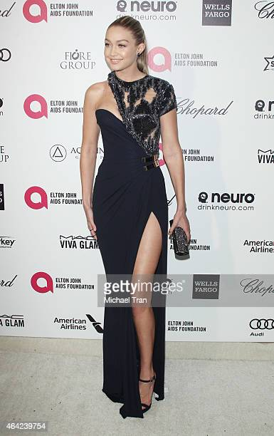 Gigi Hadid arrives at the 23rd Annual Elton John AIDS Foundation Academy Awards viewing party held at The City of West Hollywood Park on February 22...