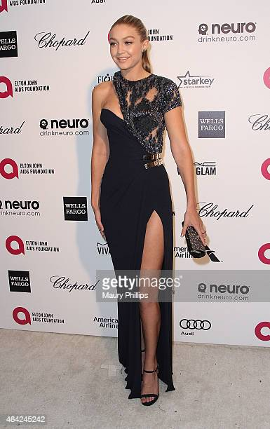 Gigi Hadid arrives at the 23rd Annual Elton John AIDS Foundation Academy Awards Viewing Party at The City of West Hollywood Park on February 22 2015...