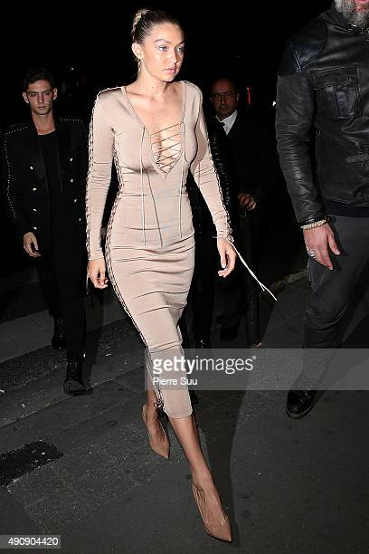 Gigi Hadid arrives at the Balmain After Show Party at 'Laperouse' restaurant as part of the Paris Fashion Week Womenswear Spring/Summer 2016 on...