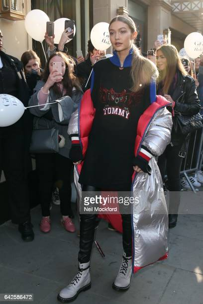 Gigi Hadid arrives at the launch of her second collaborative collection with American brand Tommy Hilfiger at the new Brompton Rd Store. On February...