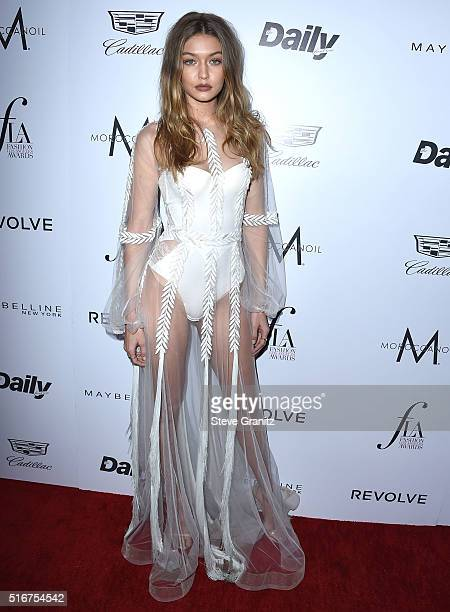 Gigi Hadid arrives at the The Daily Front Row 'Fashion Los Angeles Awards' 2016 at Sunset Tower Hotel on March 20 2016 in West Hollywood California