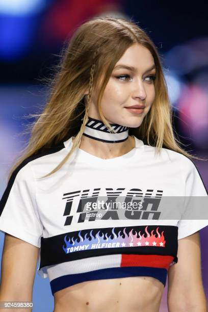 Gigi Hadid at the Tommy Hilfiger show during Milan Fashion Week Fall/Winter 2018/19 on February 25 2018 in Milan Italy