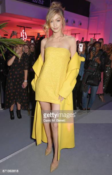 Gigi Hadid attends a party which she hosted to launch her new limitededition Maybelline collection on November 7 2017 in London England