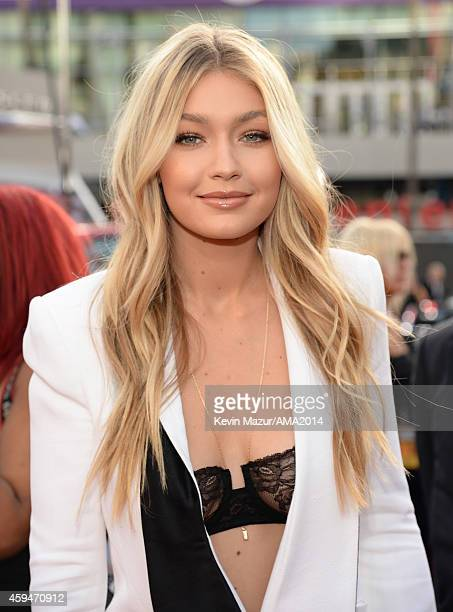 Gigi Hadid attends the 2014 American Music Awards at Nokia Theatre LA Live on November 23 2014 in Los Angeles California