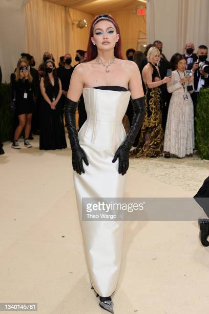 Gigi Hadid attends The 2021 Met Gala Celebrating In America: A Lexicon Of Fashion at Metropolitan Museum of Art on September 13, 2021 in New York...