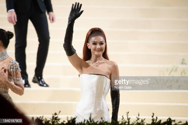 Gigi Hadid attends the 2021 Met Gala celebrating 'In America: A Lexicon of Fashion' at The Metropolitan Museum of Art on September 13, 2021 in New...