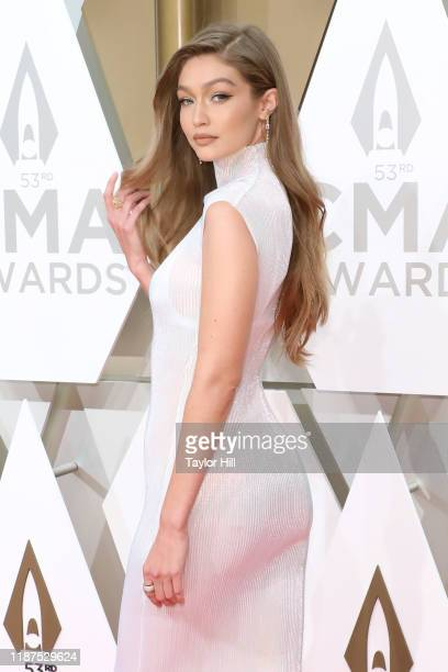 Gigi Hadid attends the 53nd annual CMA Awards at Bridgestone Arena on November 13, 2019 in Nashville, Tennessee.