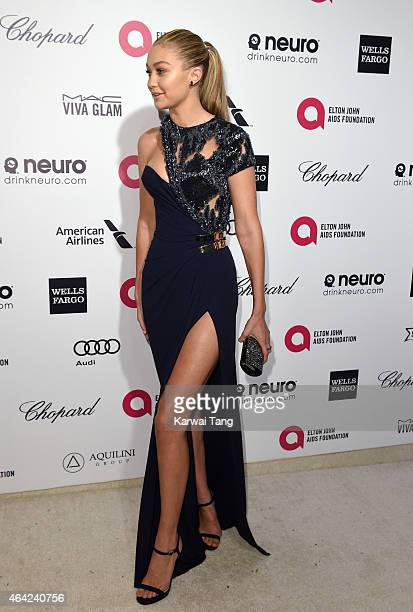 Gigi Hadid attends the Elton John AIDS Foundation's 23rd annual Academy Awards Viewing Party at The City of West Hollywood Park on February 22 2015...