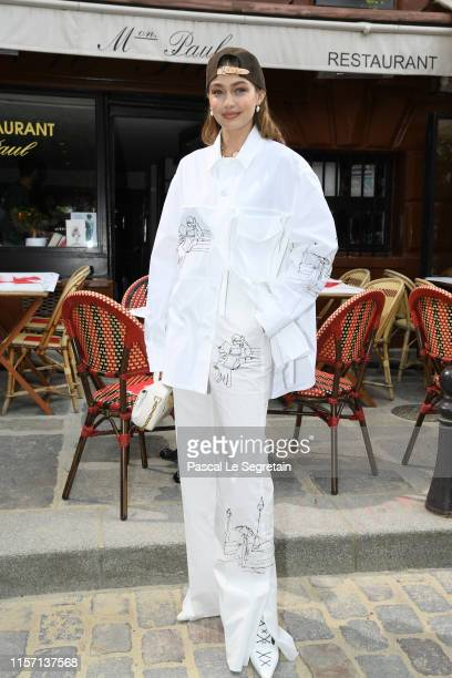Gigi Hadid attends the Louis Vuitton Menswear Spring Summer 2020 show as part of Paris Fashion Week on June 20 2019 in Paris France