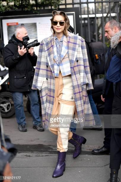 Gigi Hadid attends the Miu Miu show as part of the Paris Fashion Week Womenswear Fall/Winter 2020/2021 on March 03, 2020 in Paris, France.