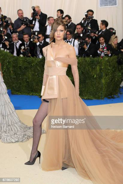 "Gigi Hadid attends the ""Rei Kawakubo/Comme des Garcons: Art Of The In-Between"" Costume Institute Gala at Metropolitan Museum of Art on May 1, 2017 in..."