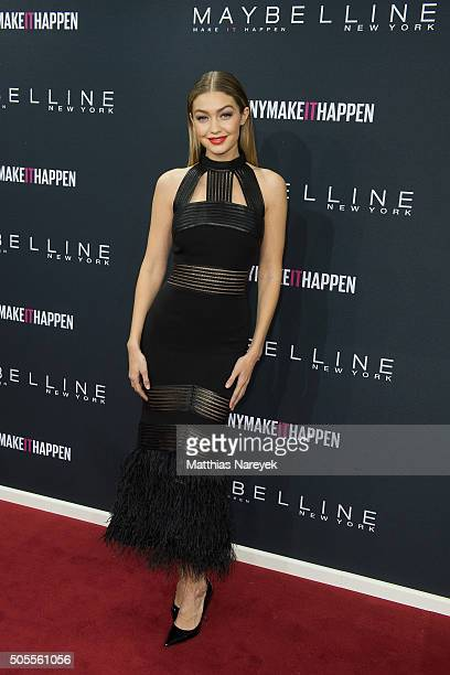 Gigi Hadid attends the 'The Power Of Colors MAYBELLINE New York MakeUp Runway' show during the MercedesBenz Fashion Week Berlin Autumn/Winter 2016 at...