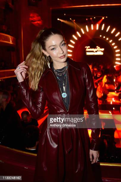 Gigi Hadid attends the Tommy Hilfiger TOMMYNOW Spring 2019 TommyXZendaya Premieres at Theatre des ChampsElysees on March 02 2019 in Paris France