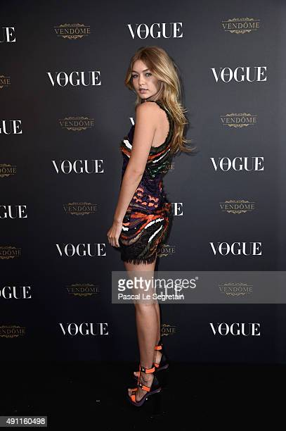 Gigi Hadid attends the Vogue 95th Anniversary Party on October 3, 2015 in Paris, France.