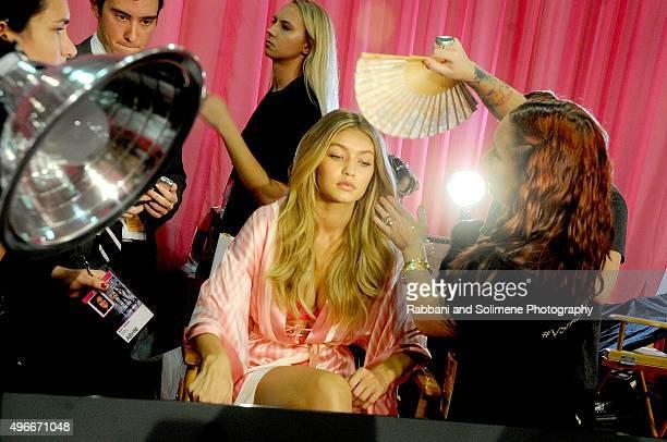 Gigi Hadid backstage at the 2015 Victoria's Secret Fashion Show at Lexington Armory on November 10 2015 in New York City