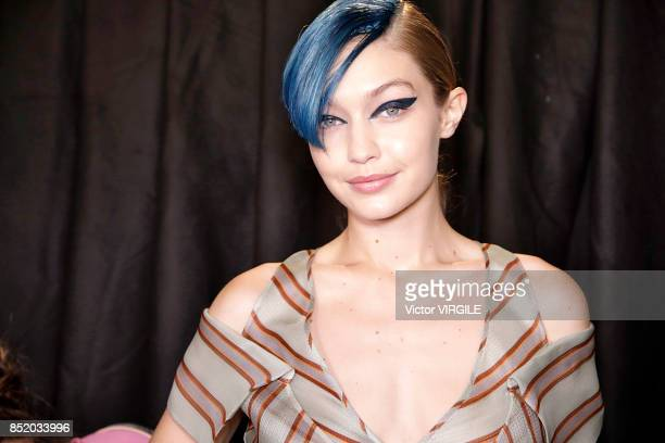 Gigi Hadid backstage at the Fendi Ready to Wear Spring/Summer 2018 fashion show during Milan Fashion Week Spring/Summer 2018 on September 21 2017 in...