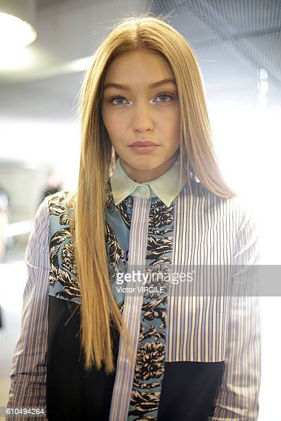 Gigi Hadid backstage at the Versace Ready to Wear show during Milan Fashion Week Spring/Summer 2017 on September 23 2016 in Milan Italy