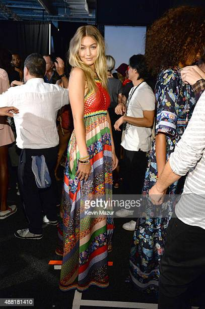 Gigi Hadid backstage at Tommy Hilfiger Women's Spring 2016 during New York Fashion Week The Shows at Pier 36 on September 14 2015 in New York City