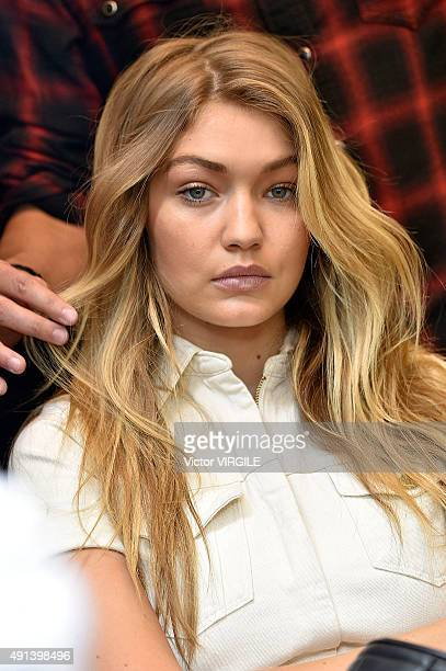 Gigi Hadid backstage during the Elie Saab Ready to Wear show as part of the Paris Fashion Week Womenswear Spring/Summer 2016 on October 3 2015 in...