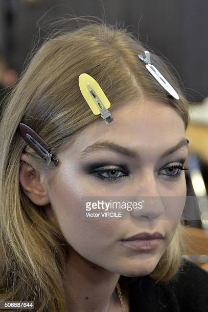 Gigi Hadid backstage during the Versace Haute Couture Spring Summer 2016 show as part of Paris Fashion Week on January 24 2016 in Paris France