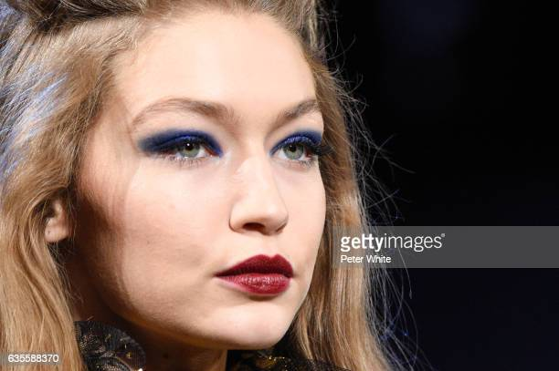 Gigi Hadid beauty detail walks the runway for the Anna Sui collection during New York Fashion Week The Shows at Gallery 1 Skylight Clarkson Sq on...