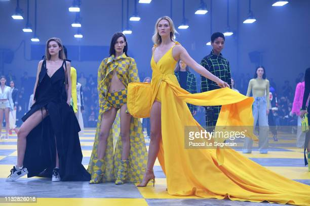 Gigi Hadid Bella Hadid and Karlie Kloss during the finale of the OffWhite show as part of the Paris Fashion Week Womenswear Fall/Winter 2019/2020 on...