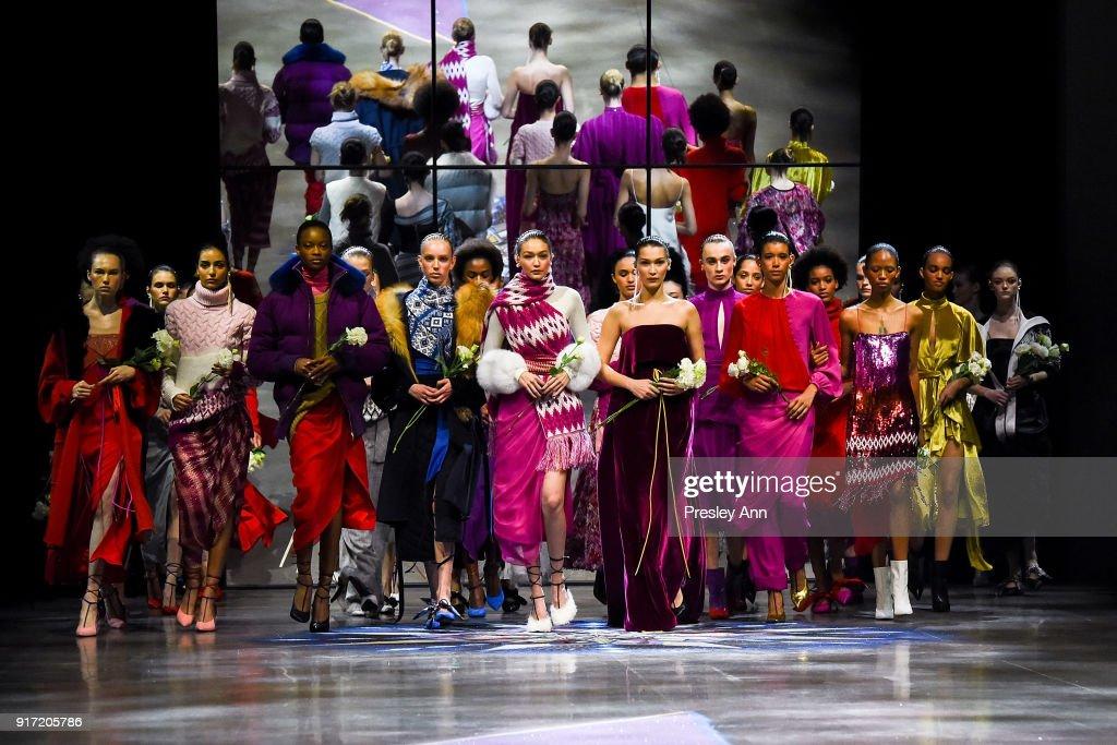 Gigi Hadid, Bella Hadid and Models walk the runway at Prabal Gurung - Runway - February 2018 - New York Fashion Week: at Spring Studios on February 11, 2018 in New York City.