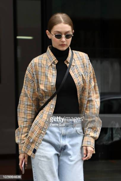 Gigi Hadid comes out of appartment on September 9, 2018 in New York City.