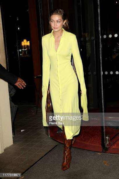 Gigi Hadid comes out of the 4Royal Monceau' hotel on September 26 2019 in Paris France