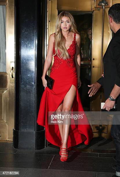 Gigi Hadid departs The Carlyle Hotel to attend the MET Gala 2015 on May 4 2015 in New York City