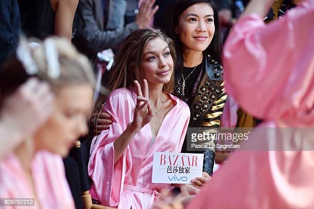 Gigi Hadid has her Hair Makeup done prior the 2016 Victoria's Secret Fashion Show on November 30 2016 in Paris France