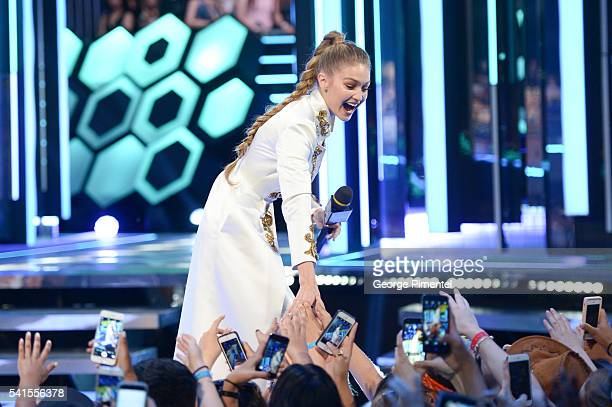 Gigi Hadid hosts at the 2016 iHeartRADIO MuchMusic Video Awards at MuchMusic HQ on June 19 2016 in Toronto Canada
