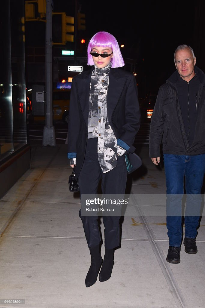 Gigi Hadid in pink wig seen out and about in Manhattan on February 8, 2018 in New York City.