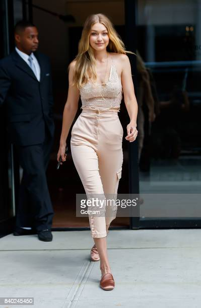 Gigi Hadid is all smiles on August 28 2017 in New York City