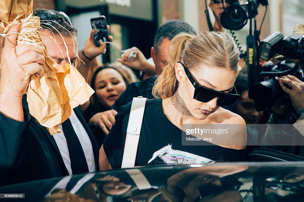 Gigi Hadid is seen after fendi during Milan Fashion Week Spring/Summer 2017 on September 22, 2016 in Milan, Italy.