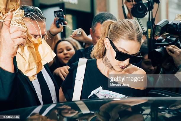 Gigi Hadid is seen after fendi during Milan Fashion Week Spring/Summer 2017 on September 22 2016 in Milan Italy