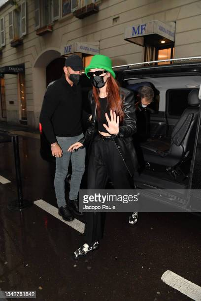 Gigi Hadid is seen ahead of the Versace special event during the Milan Fashion Week Spring / Summer 2022 on September 26, 2021 in Milan, Italy.