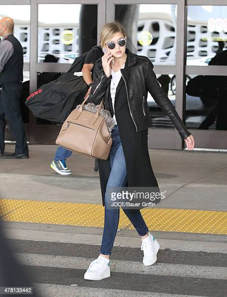 Gigi Hadid is seen arriving at LAX on June 22 2015 in Los Angeles California