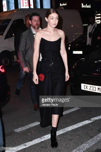 Gigi Hadid is seen arriving at Prada store during Paris Fashion Week Womenswear Fall/Winter 2019/2020 on February 27, 2019 in Paris, France.
