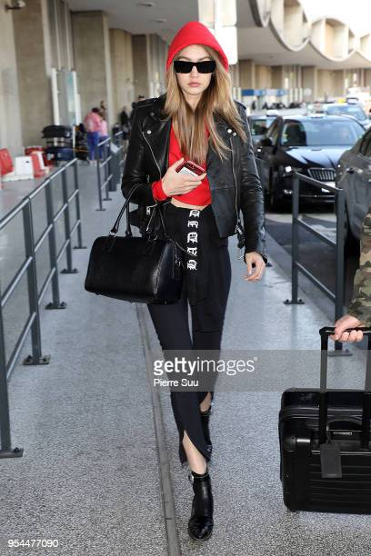 Gigi Hadid is seen at Charles De Gaulle airport on May 4 2018 in Paris France