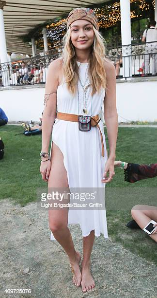 Gigi Hadid is seen at Coachella Valley Music and Arts Festival at The Empire Polo Club on April 12, 2015 in Indio, California.