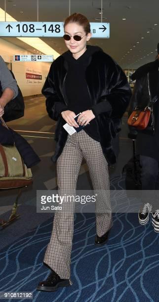 Gigi Hadid is seen at Haneda Airport on January 27 2018 in Tokyo Japan