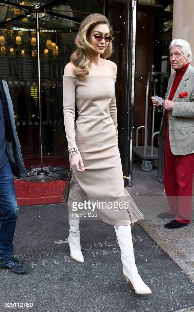 Gigi Hadid is seen at her hotel on February 27 2018 in Paris France