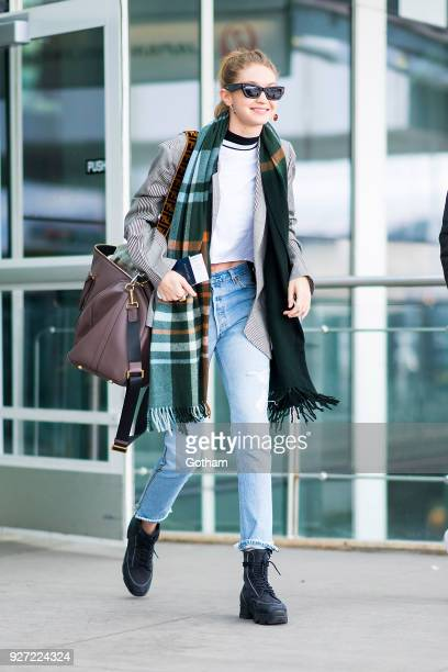 Gigi Hadid is seen at JFK Airport on March 4 2018 in New York City