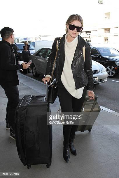 Gigi Hadid is seen at LAX on January 15 2016 in Los Angeles California