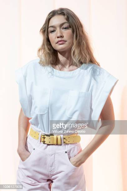 Gigi Hadid is seen backstage ahead of the Alberta Ferretti show during Milan Fashion Week Spring/Summer 2019 on September 19 2018 in Milan Italy