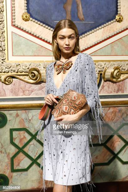 Gigi Hadid is seen backstage ahead of the Bottega Veneta show during Milan Fashion Week Spring/Summer 2018 on September 23 2017 in Milan Italy