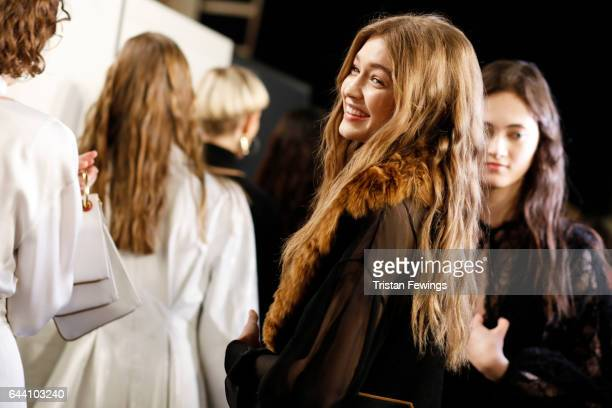 Gigi Hadid is seen backstage ahead of the Fendi show during Milan Fashion Week Fall/Winter 2017/18 on February 23 2017 in Milan Italy